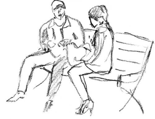 Drawing of a couple sitting on a park bench representing the psychology test for couples.