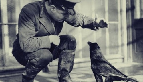 A soldier with a crow.
