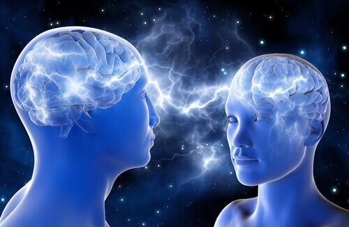 Two people connected at the brain.