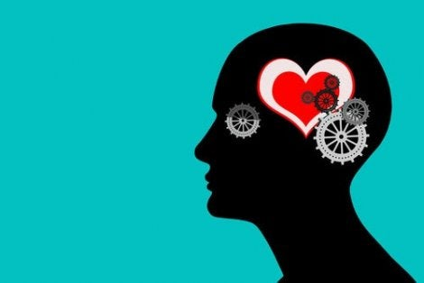 A brain made of a heart and cogs representing the driving force.