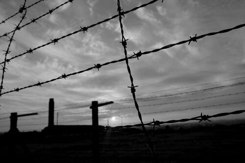 A barbed wire fence at a concentration camp.