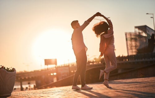 A couple dancing.