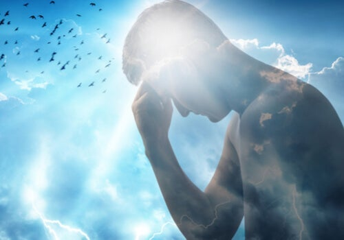 A man overlaid on a blue sky.