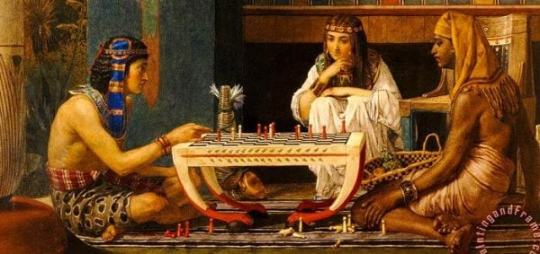 Ramses and Moses. A painting of two chess players by Lawrence Alma Tadema.