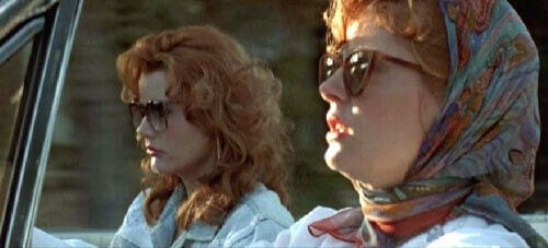 Thelma and Louise driving.