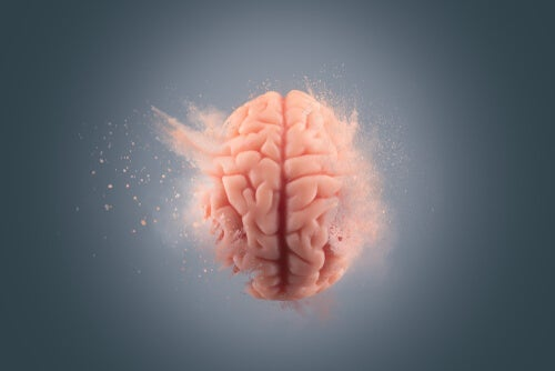 A brain going into water.