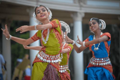 A group of women dancing.
