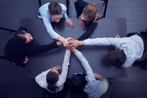 A group of people working together.