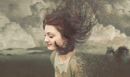 A woman disintegrating.