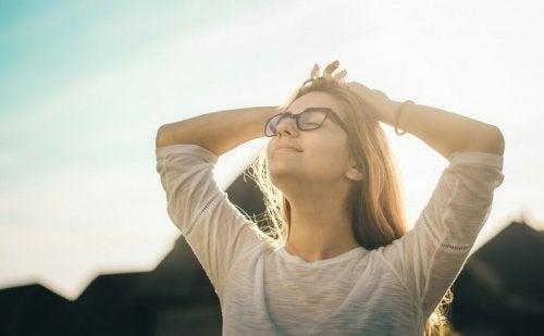 A woman enjoying the sun.