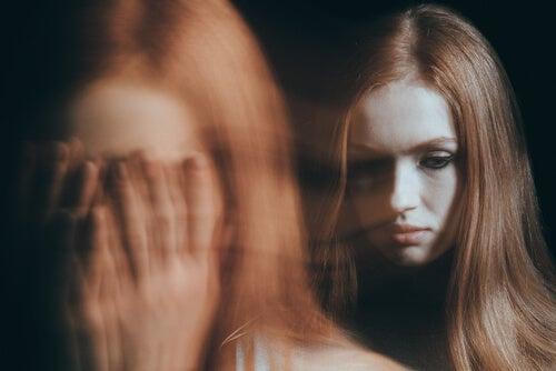 A woman hallucinating.