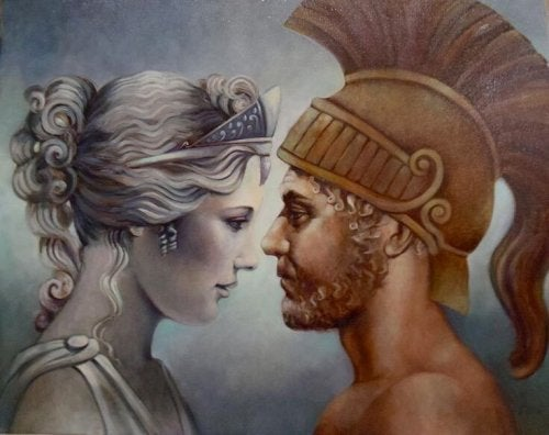 The Myth of Aphrodite and Ares represented in a picture.