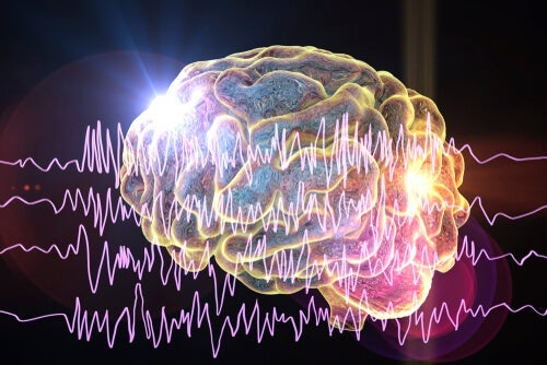 A brain with brainwaves superimposed on it.