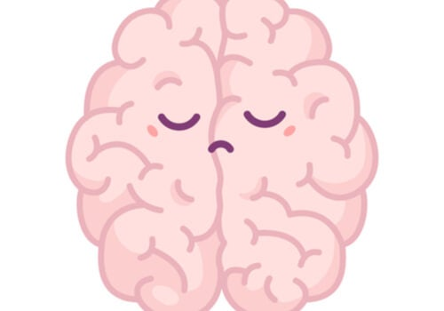 A drawing of a brain displaying pessimism with a frown.