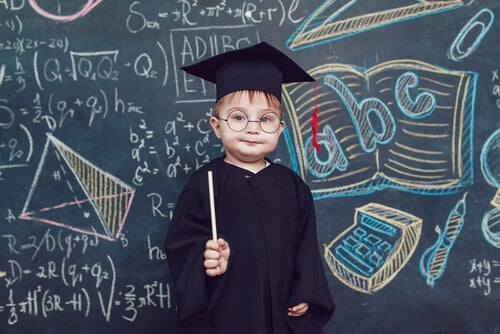 A boy dressed as if he's very intelligent.