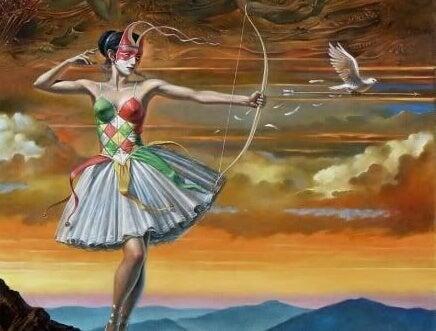 A woman with an arrow.