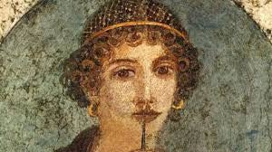 An illustration of Sappho of Lesbos.