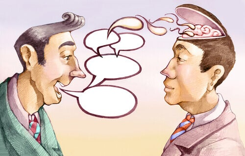 A cartoon of two men talking about the elaboration likelihood model.
