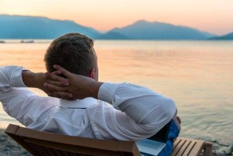 A man contemplating the ocean.
