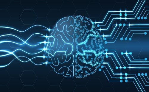 A brain with circuits and data going into it.