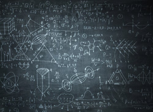 A chalkboard with equations.