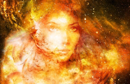 An image of a woman in the galaxy.
