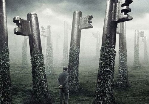 A man walking in a forest of giant keys.