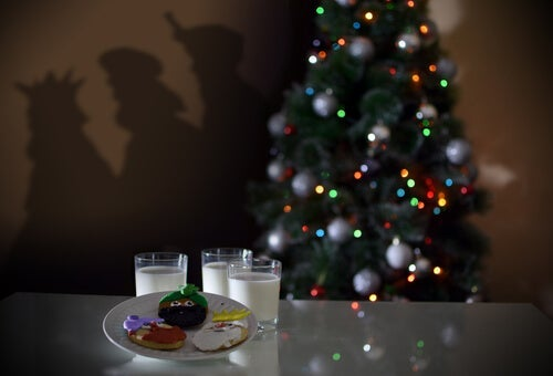 A plate of cookies and glasses of milk for Santa.