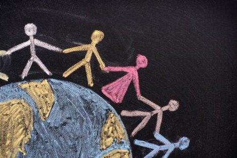 People joining hands around rhe world.