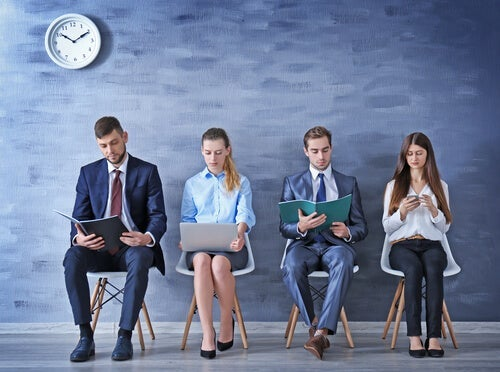 Four people who are job hunting.