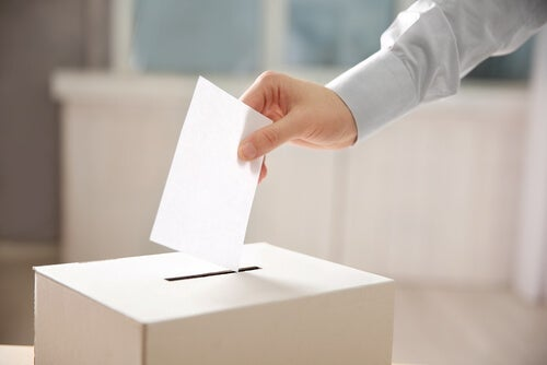 A person who follows populism putting their vote inside a box.