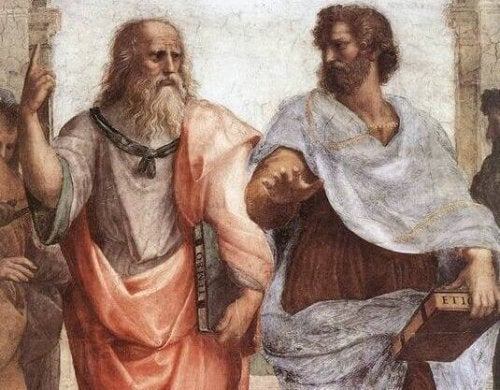 A painting of Plato and Aristotle.