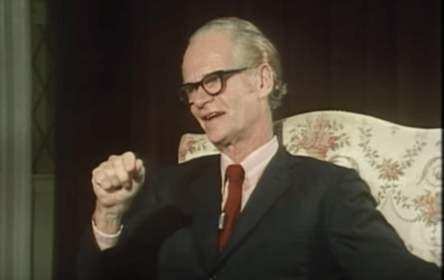 A photo of BF Skinner, who first identified operant conditioning.