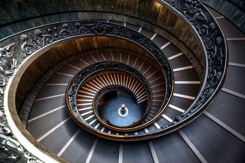 A spiral staircase.