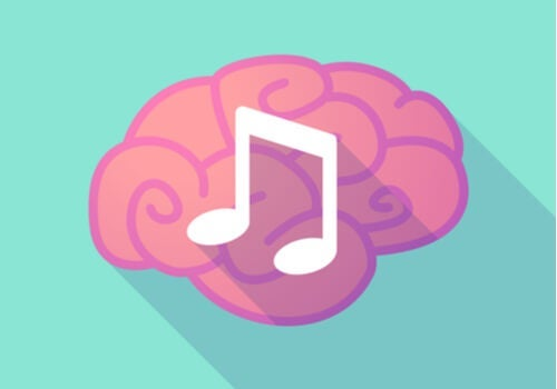 An image of a brain with a musical note.