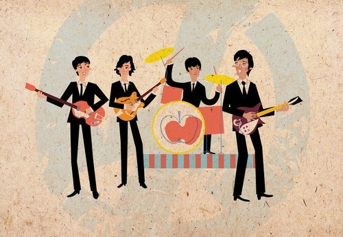 An illustration of the Beatles performing.