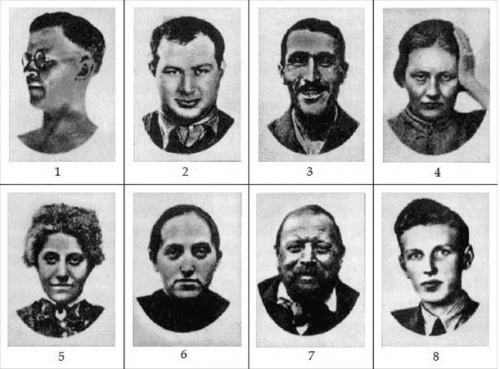 A sample of faces from the Szondi test.