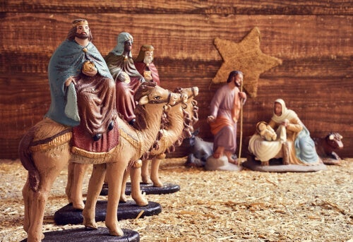 The wise men visiting baby Jesus.