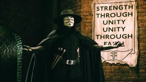 V from V for Vendetta walking with arms open.