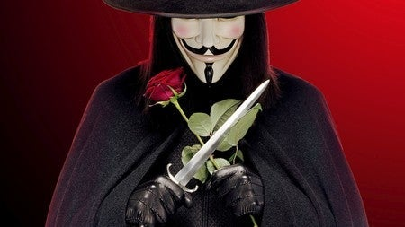 V with a rose and a knife.