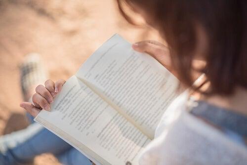 A person reading a book.