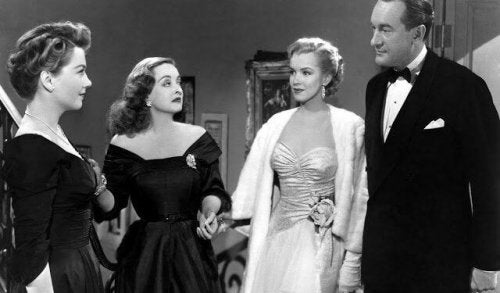 A scene of a movie with Bette Davis.