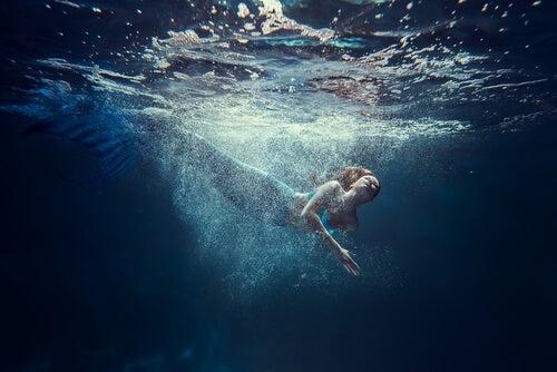 A swimming mermaid.