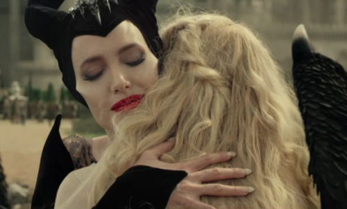 Maleficent and Aurora embracing as they think of anxiety as an ally.