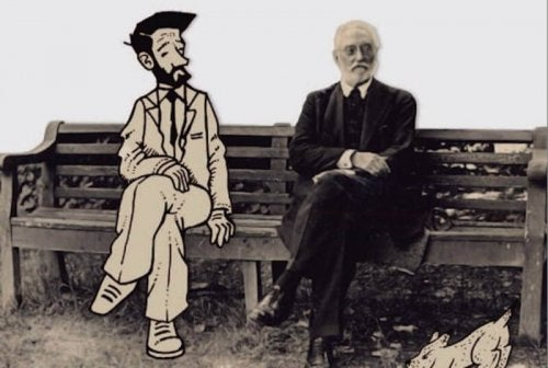 Unamuno seated next to his character in Mist or Nivola.