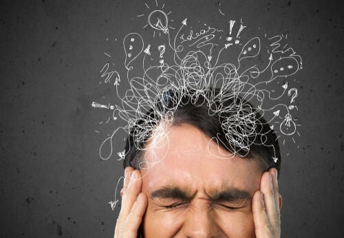 A man with a headache.