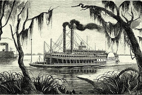 A boat on the Mississippi River.