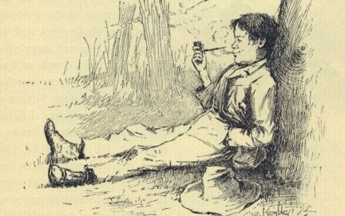 An illustration from the book Huckleberry Finn.