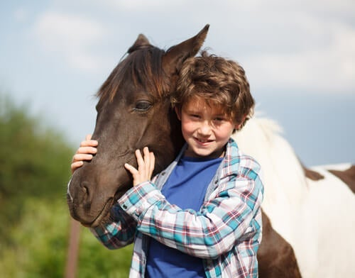 A boy and a horse.