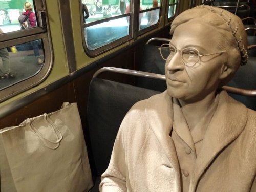 A sculpture of Rosa Parks.